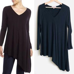 Philosophy black asymmetrical tunic top - LARGE
